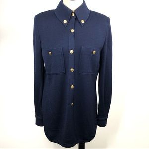 St John Collection Knit Button Collared  Cardigan